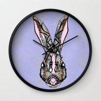 rabbit Wall Clocks featuring Rabbit by SilviaGancheva