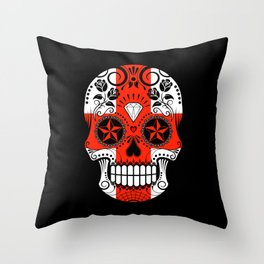 Sugar Skull with Roses and Flag of England Throw Pillow
