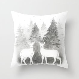Albino Deer and Pine Forest with Stars Throw Pillow
