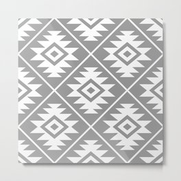 Aztec Symbol Pattern White on Gray Metal Print