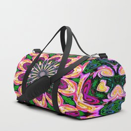Abstract colorful Heart Flower Seamless Pattern Vector illustration Duffle Bag