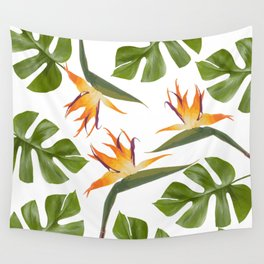 Strelitzia and Monstera white Wall Tapestry