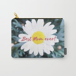 """SMILE """"Best Mom ever!"""" Edition - White Daisy Flower #1 Carry-All Pouch"""