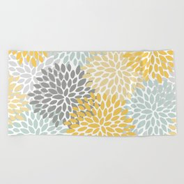 Floral Pattern, Yellow, Pale, Aqua, Blue and Gray Beach Towel