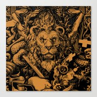 lion Canvas Prints featuring Lion by Jimiyo