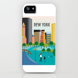 New York City, New York - Skyline Illustration by Loose Petals iPhone Case