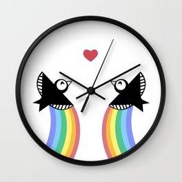 Blackbirds with Rainbows Wall Clock