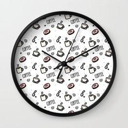 Coffee Hot Donut Sweet Tasty Breakfast Wall Clock