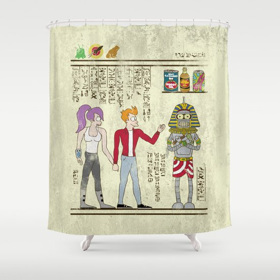 Hero-glyphics: Planet Express  Shower Curtain