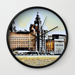 Liverpool Waterfront Skyline (Digital Art) Wall Clock