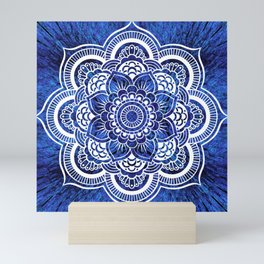 Mandala Blue Colorburst Mini Art Print
