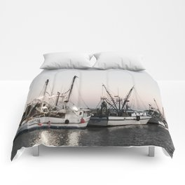 Fishing Boats on the Water at Sunset Comforters