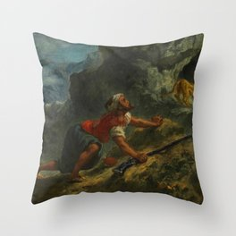 "Eugène Delacroix ""Arab Stalking a Lion"" Throw Pillow"