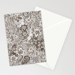 floral and paisleys monochrome Stationery Cards