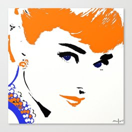 Audrey So Beautful In Orange and Blue Canvas Print