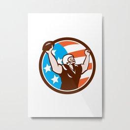 American Football Celebrating Touchdown Retro Metal Print