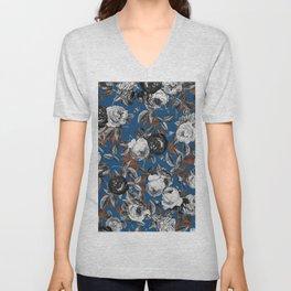 Black white roses copper classic blue Unisex V-Neck