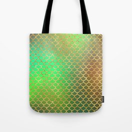 Luxurious Greens and Gold Mermaid Scale Pattern Tote Bag