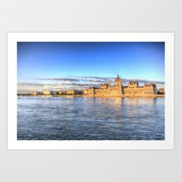 Budapest River Danube Sunset Art Print