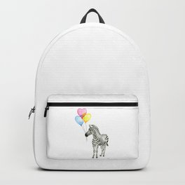 Zebra Watercolor With Heart Shaped Balloons Backpack