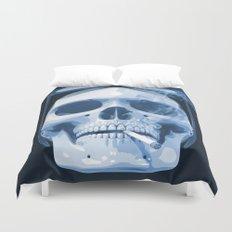 Skull Smoking Cigarette Blue Duvet Cover
