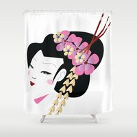 geisha Shower Curtains featuring Geisha by Cs025