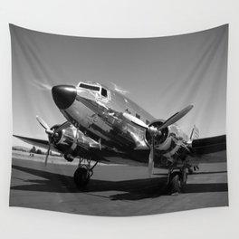 Douglas DC-3 Dakota Chrome Art Deco Airplane black and white photograph / art photography by Brian Burger Wall Tapestry