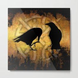 Huginn and Muninn - Odins ravens Metal Print