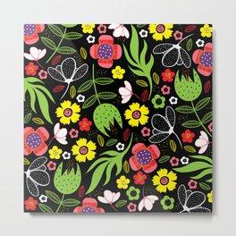Funky Floral Botanical Flowers Spring Summer Pattern Metal Print