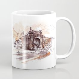 Art Nouveau building / watercolor and ink. Coffee Mug