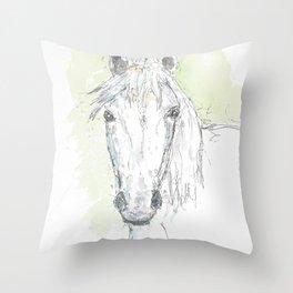 Grey horse drawing Throw Pillow