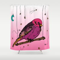 birdy Shower Curtains featuring Birdy by Gwladys R.