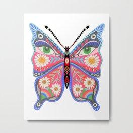 Butterfly no. 1- white, retro 70s butterfly print, daisy art,eyes, hippie dorm room art Metal Print
