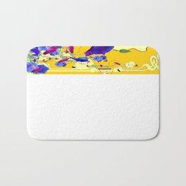Turmeric-Yellow Color Blue-Purple Morning glories  Art Design Bath Mat