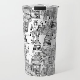 Doctor Who Toile de Jouy | 'Walking Doodle' | Black Travel Mug