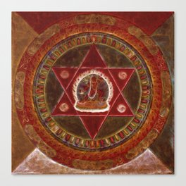 Vajrayogini stands in the center of two crossed red triangles Canvas Print