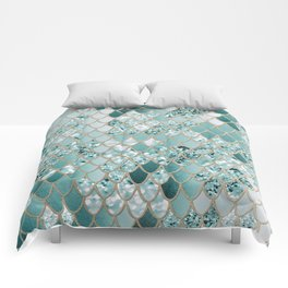 Mermaid Glitter Scales #3 #shiny #decor #art #society6 Comforters