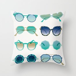 Sunglasses Collection – Turquoise & Navy Palette Throw Pillow