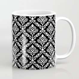 Prima Damask Pattern White on Black Coffee Mug
