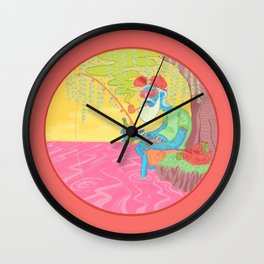 fisherman by the river Wall Clock