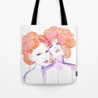 gustav klimt Tote Bags featuring Klimt Mistresses by Nicola MacNeil