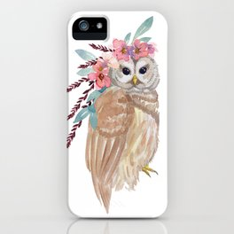 Owl with flower crown iPhone Case