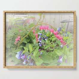 Floral Fantasy Bleeding Hearts and Bluebells Serving Tray