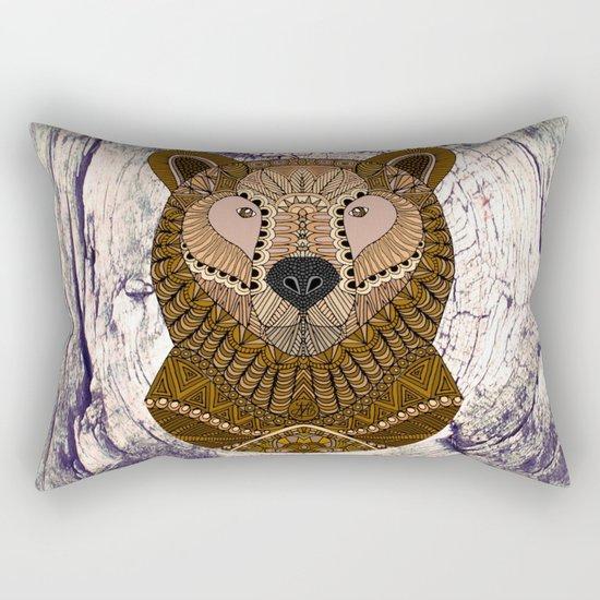 Ornate Brown Bear Rectangular Pillow