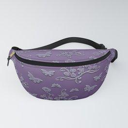 Flowers & butterflies in purple Fanny Pack