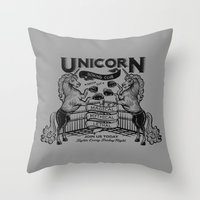 boxing Throw Pillows featuring Unicorn Boxing by Kellabell9