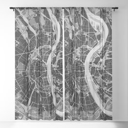 Cologne map black and white Sheer Curtain