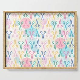 Hair Scissors Pastel Pattern Serving Tray