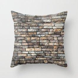 Stone Wall Slabwork in Grey Beige Granite Throw Pillow