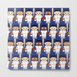 Baseball White and Blue - Super cute sports stars Metal Print